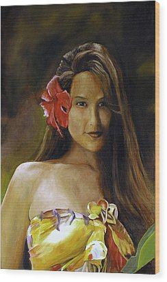 Wood Print featuring the painting Aloha by Rick Fitzsimons