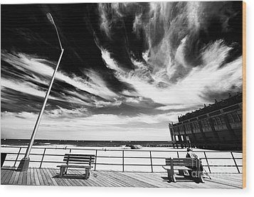 Alone In Asbury Park Wood Print by John Rizzuto