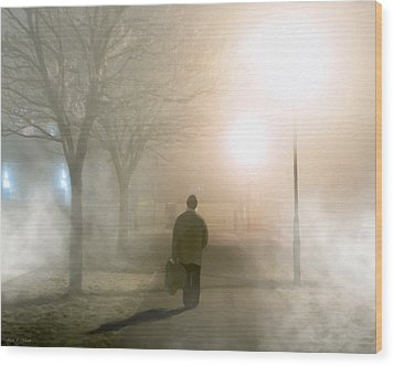 Alone In The Fog In Galway Wood Print by Mark E Tisdale