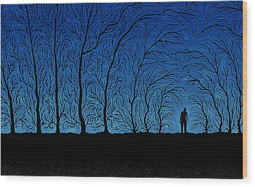 Alone In The Forrest Wood Print by Gianfranco Weiss
