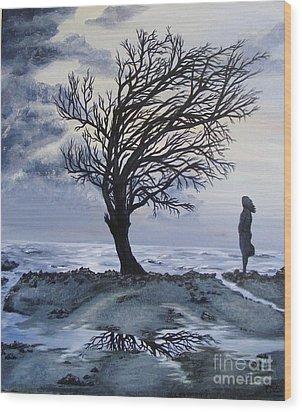 Alone Wood Print by Lisa Golem