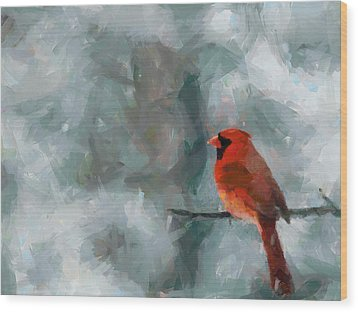 Alone Red Bird Wood Print