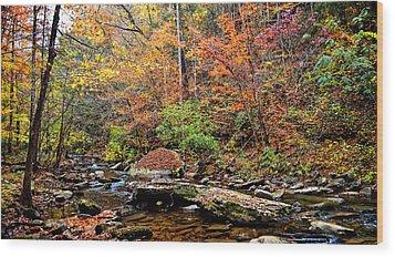 Along Fall Creek Wood Print