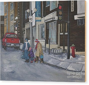 Along The Boulevard Wood Print by Reb Frost