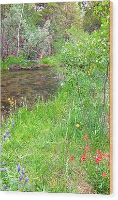 Along The Creek Wood Print by Marilyn Diaz