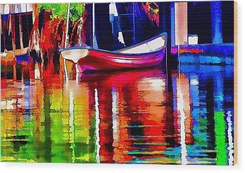Along The Dock Wood Print by Pamela Blizzard