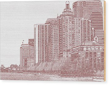 Along The Harbor New York Wood Print by Thomas Fouch