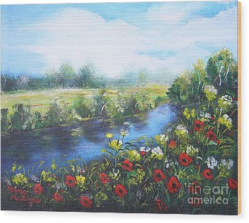 Wood Print featuring the painting Along The Poppy Valley by Vesna Martinjak