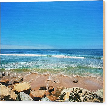 Along The Rincon California Surf Spot From The Book My Ocean Wood Print by Artist and Photographer Laura Wrede