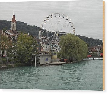 Along The River In Thun Wood Print