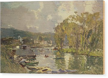 Along The Seine At Meudon Wood Print by Albert Charles Lebourg