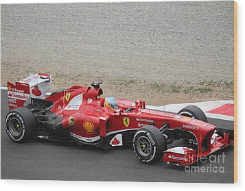 Alonso In His Ferrari Wood Print by David Grant