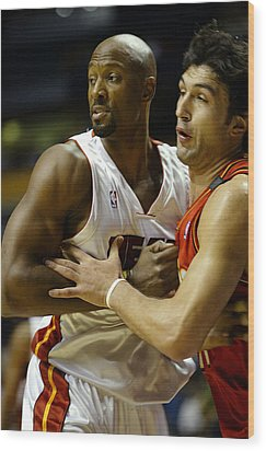 Alonzo Mourning Wood Print by Don Olea