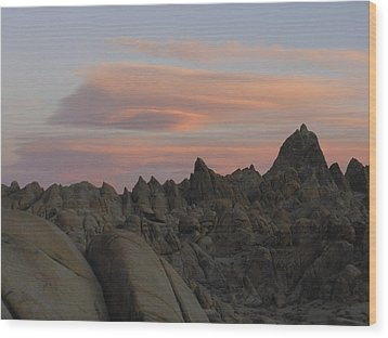 Alpenglow And Boulders Wood Print