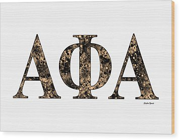Wood Print featuring the digital art Alpha Phi Alpha - White by Stephen Younts