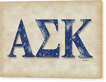 Alpha Sigma Kappa - Parchment Wood Print by Stephen Younts