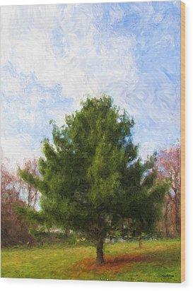 Wood Print featuring the digital art Alpha Spring Pine by Spyder Webb