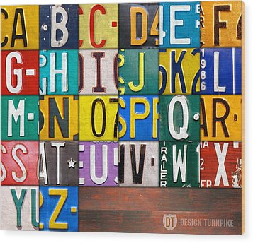 Alphabet License Plate Letters Artwork Wood Print by Design Turnpike