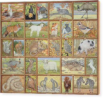 Alphabetical Animals Wood Print