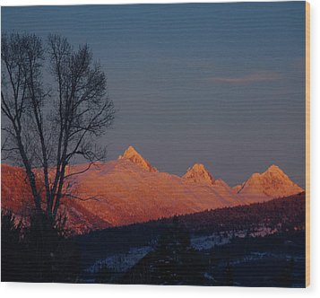 Wood Print featuring the photograph Alpenglow by Raymond Salani III