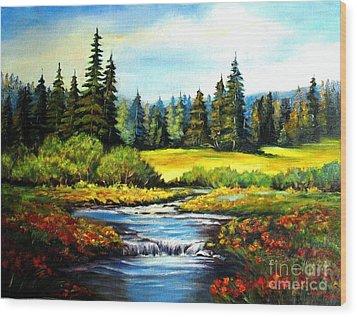 Alpine Meadow Wood Print by Hazel Holland