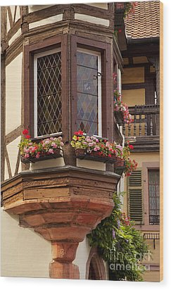 Alsace Window Wood Print by Brian Jannsen