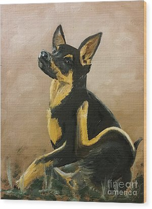 Alsatian Puppy Scratching Wood Print