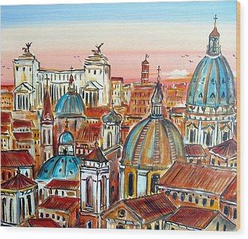 Altare Della Patria In Roma Wood Print by Roberto Gagliardi
