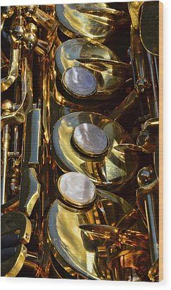 Alto Sax Reflections Wood Print by Ken Smith