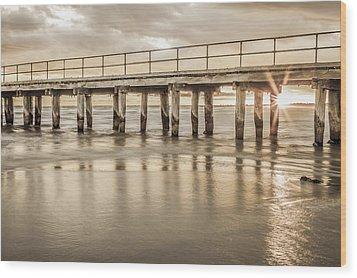 Altona Pier In Sepia Wood Print by Shari Mattox