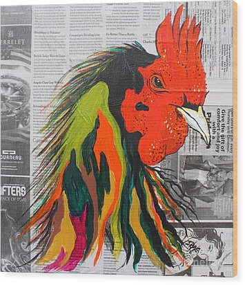 Wood Print featuring the painting Amadeo The Tuscan Rooster by Janice Rae Pariza