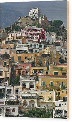 Wood Print featuring the photograph Amalfi Houses by Henry Kowalski