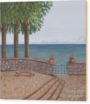 Amalfi Terrace Over Looking The Sea Wood Print by Stevie Stefano