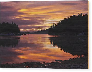 Amalga Harbor Sunset Wood Print by Cathy Mahnke