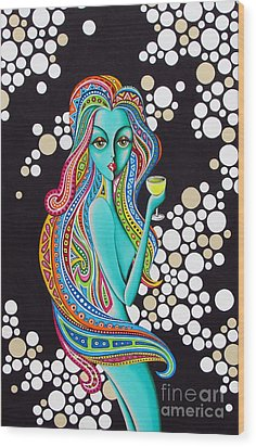 Wood Print featuring the painting Amanda  Groovy Chick Series by Joseph Sonday