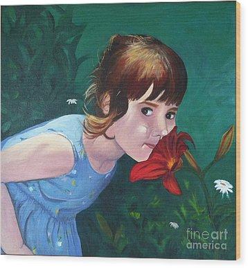 Amanda Smells The Flower Wood Print