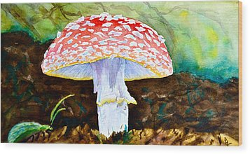 Amanita And Lacewing Wood Print by Beverley Harper Tinsley