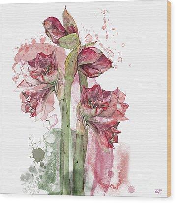 Wood Print featuring the painting Amaryllis Flowers - 3. - Elena Yakubovich by Elena Yakubovich