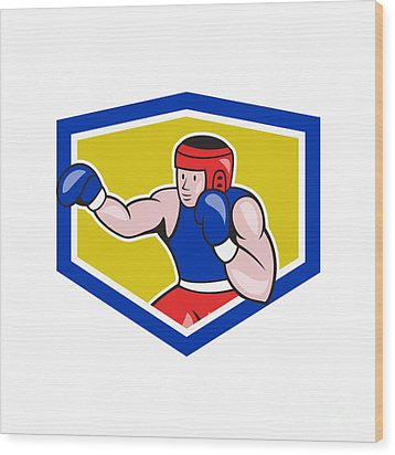 Amateur Boxer Boxing Shield Cartoon Wood Print by Aloysius Patrimonio