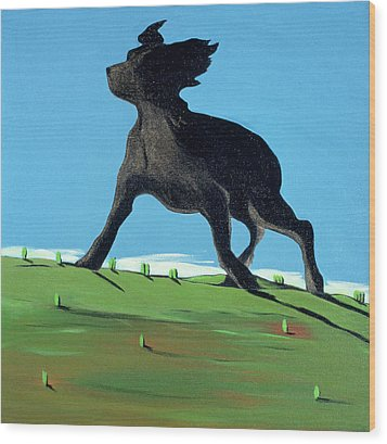 Amazing Black Dog, 2000 Wood Print by Marjorie Weiss