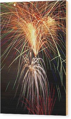 Amazing Fireworks Wood Print by Garry Gay