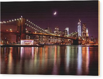 Wood Print featuring the photograph Amazing New York Skyline And Brooklyn Bridge With Moon Rising by Mitchell R Grosky