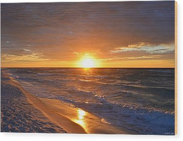 Wood Print featuring the photograph Amazing Sunrise Colors And Waves On Navarre Beach by Jeff at JSJ Photography