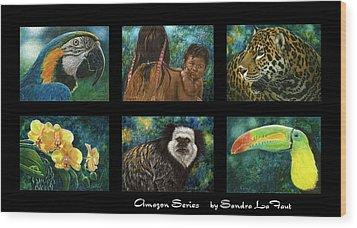 Amazon Series Collage Wood Print by Sandra LaFaut