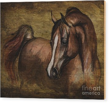 Amber  Wood Print by Angel  Tarantella