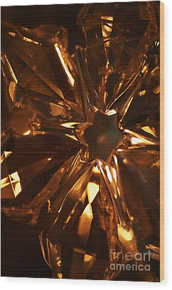 Amber Crystal Snowflake Wood Print by Linda Shafer