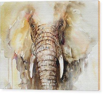 Amber Elephant Wood Print