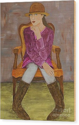 Wood Print featuring the painting Lucy by Jane Chesnut
