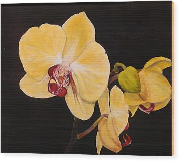 Wood Print featuring the painting Amber Orchids by Sandra Nardone