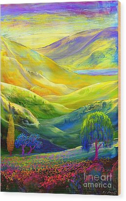 Wildflower Meadows, Amber Skies Wood Print